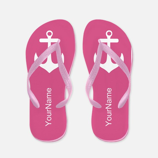 Pink and White Anchor Flip Flops