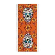 Sugar Skull ORANGE Beach Towel