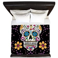 Sugar Skull BLACK King Duvet