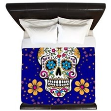 Sugar Skull ROYAL BLUE King Duvet