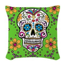 Sugar Skull GREEN Woven Throw Pillow