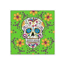 """Sugar Skull GREEN Square Sticker 3"""" x 3"""""""