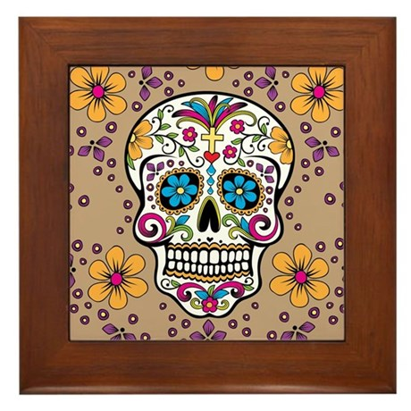 Sugar Skull TAN Framed Tile