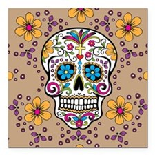 "Sugar Skull TAN Square Car Magnet 3"" x 3"""