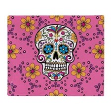 Sugar Skull PINK Throw Blanket