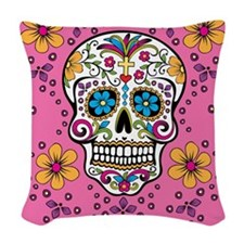 Sugar Skull PINK Woven Throw Pillow