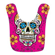 Sugar Skull BRIGHT PINK Bib