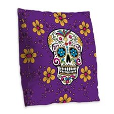 Sugar Skull PURPLE Burlap Throw Pillow