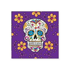 """Sugar Skull PURPLE Square Sticker 3"""" x 3"""""""