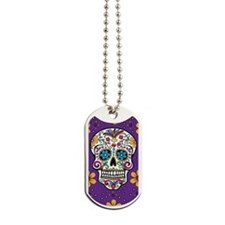 Sugar Skull PURPLE Dog Tags