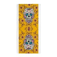 Sugar Skull YELLOW Beach Towel