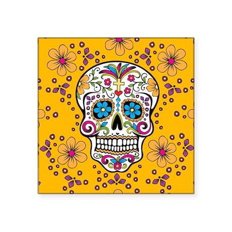 """Sugar Skull YELLOW Square Sticker 3"""" x 3"""""""