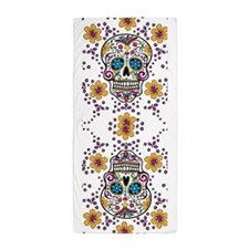 Sugar Skull WHITE Beach Towel