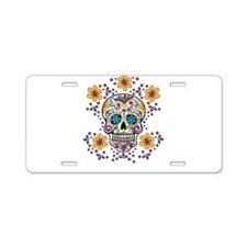 Sugar Skull WHITE Aluminum License Plate