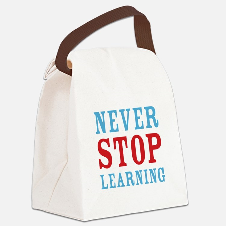 Never Stop Learning Canvas Lunch Bag