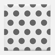 Classic Gray Polkadots Tile Coaster