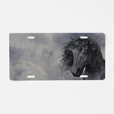 Black Horse Aluminum License Plate