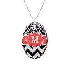Black Coral Chevron Personalized Necklace