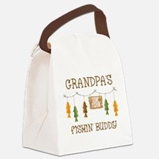 Gone Fishing Line Grandpa Canvas Lunch Bag