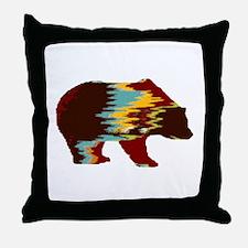 Artistic Rustic Bear Throw Pillow