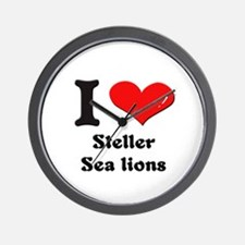 I love steller sea lions  Wall Clock
