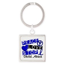 Peace Love Stop Child Abuse 1 Square Keychain