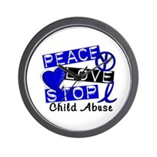 Peace Love Stop Child Abuse 1 Wall Clock