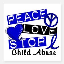 "Peace Love Stop Child Ab Square Car Magnet 3"" x 3"""