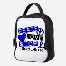 Peace Love Stop Child Abuse 1 Neoprene Lunch Bag