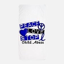 Peace Love Stop Child Abuse 1 Beach Towel