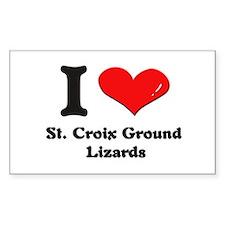 I love st. croix ground lizards Sticker (Rectangu