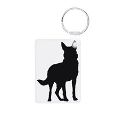 German Shepherd Silhouette Aluminum Photo Keychain