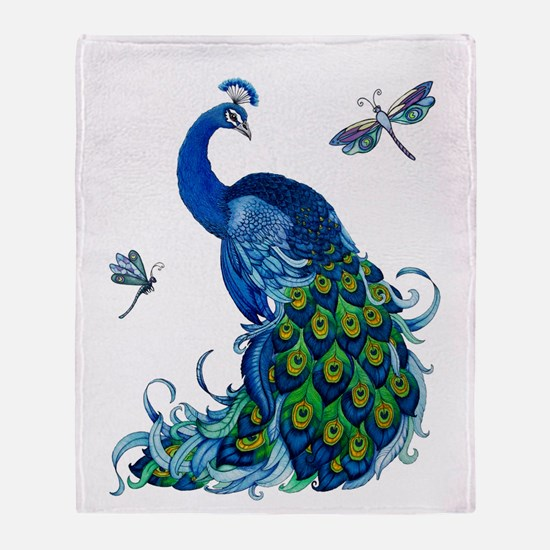 Blue Peacock and Dragonflies Throw Blanket