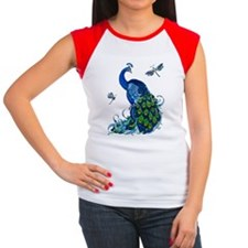 Blue Peacock and Dragon Women's Cap Sleeve T-Shirt