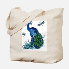 Blue Peacock and Dragonflies Tote Bag