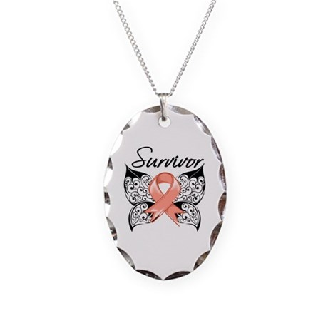 survivor uterine cancer necklace by hopeawarenessribbons