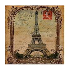 vintage scripts postage paris eiffel  Tile Coaster