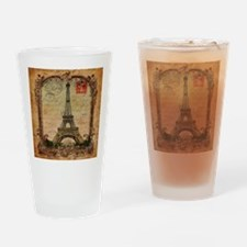 vintage scripts postage paris eiffe Drinking Glass
