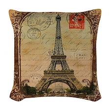 vintage scripts postage paris  Woven Throw Pillow