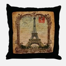 vintage scripts postage paris eiffel  Throw Pillow