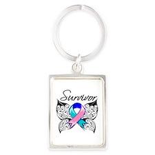 Survivor Thyroid Cancer Portrait Keychain