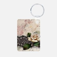 floral white rose lace vin Keychains
