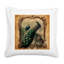 vintage elegant peacock frenc Square Canvas Pillow
