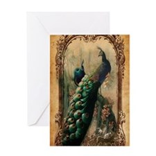 vintage elegant peacock french flora Greeting Card