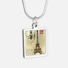 vintage  chandelier postag Silver Square Necklace