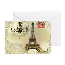 vintage  chandelier postage paris ei Greeting Card