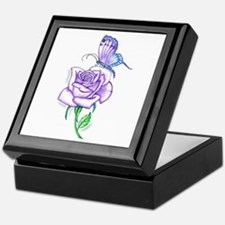 Butterfly with Violet Rose Keepsake Box