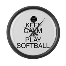 Keep Calm Softball Large Wall Clock