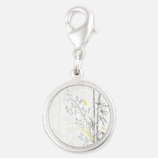 Bamboo n Birds Yellow Silver Round Charm