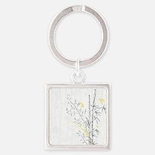 Bamboo n Birds Yellow Square Keychain